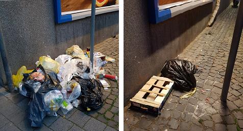 Müllprobleme Wanner Str. (Ecke Hs.-Nr. 4 / Discount-Markt)